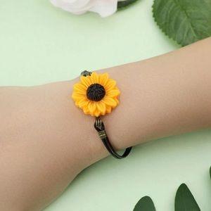 Pleather Sunflower Bracelet